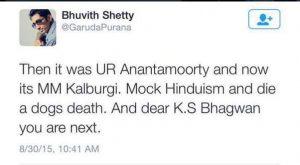 bhuvith shetty tweet mm kalburgi